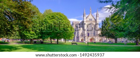 Photo of  Winchester, UK - Aug 20, 2019:  Winchester Cathedral West Front.