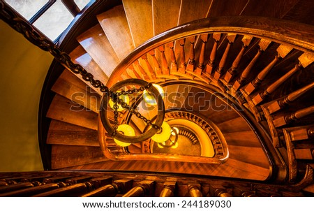WINCHESTER, VIRGINIA - DECEMBER 1: Spiral staircase at the Handley Library on December 1, 2012 in Winchester, Virginia. The Handley Library is a historic library of Beaux Arts architectural style.