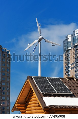 Wind and solar energy concept