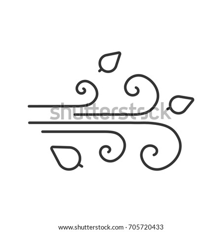 Wind blowing linear icon. Windiness thin line illustration. Windy weather. Autumn season contour symbol. Weather condition. Raster isolated outline drawing
