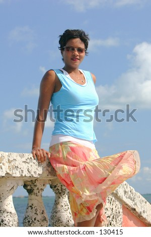 wind blowing skirt stock photo 130415