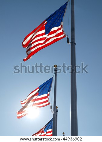 Wind blown flags at the Washington Monument in DC.