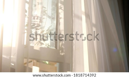 wind blows through the open window in the room. Waving white tulle near the window. Morning sun lighting the room, shadow background overlays. Stockfoto ©