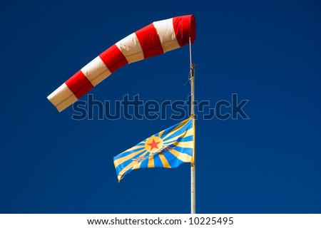 wind cone and soviet air force flag