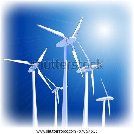 Wind-driven generators & blue sky. Bitmap copy my vector ID 65168767