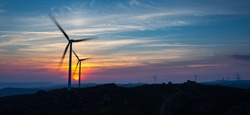 Wind Energy at the Sunset, Fafe, Portugal