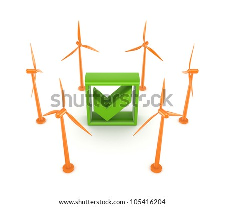Wind energy concept.Isolated on white background.3d rendered.