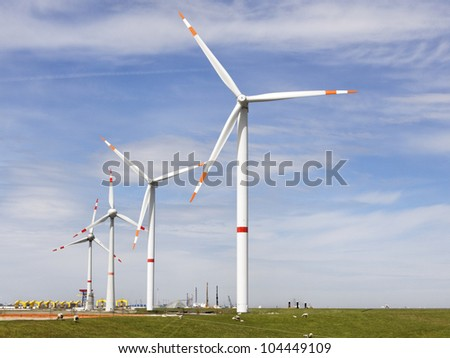 wind energy in cuxhaven, Germany - stock photo