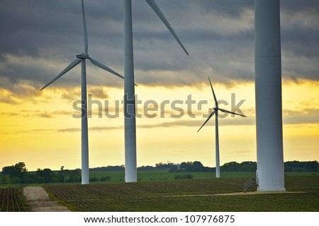 Wind Energy Overlook - Wind Turbines - Mower County, MN, USA. Sunset Theme.