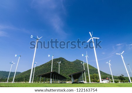 Wind energy turbines with solar panels, In power stations. Phetchaburi Province, Thailand.