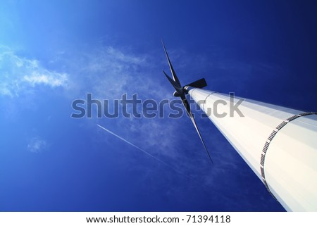 wind energy under blue sky