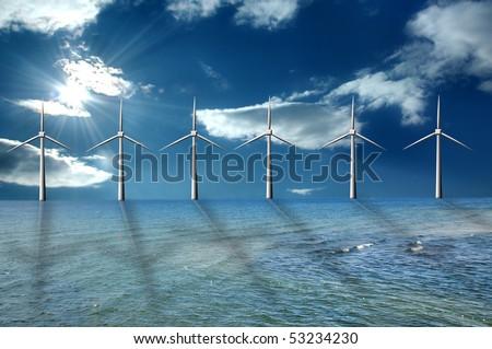 Wind farm at the sea