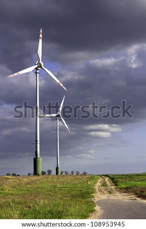 Wind farm before storm
