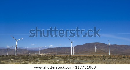 Wind farm in northern Chile, mining regions of Atacama and Coquimbo, Chile.
