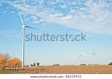 Wind farm in Paulding County, Ohio.  More than 50 wind turbines decorate the corn fields and rural landscape in northwest Ohio.