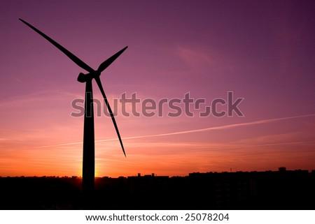 wind farm in silhouette at dusk (XL)