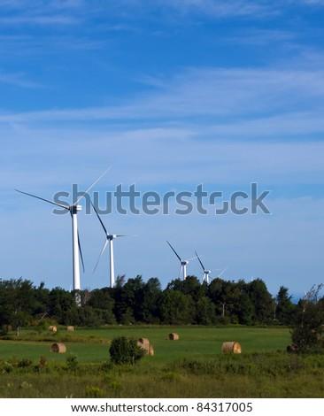 wind farm near hay field