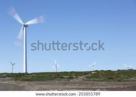 Wind farm on the island of Madeira, Portugal