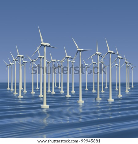 Wind farm or electrical generators at sea