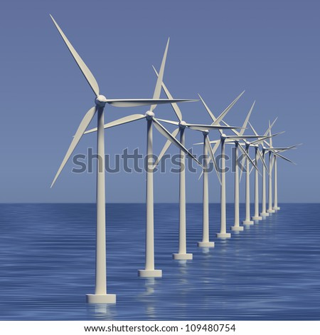 Wind farm or generators with sky at sea