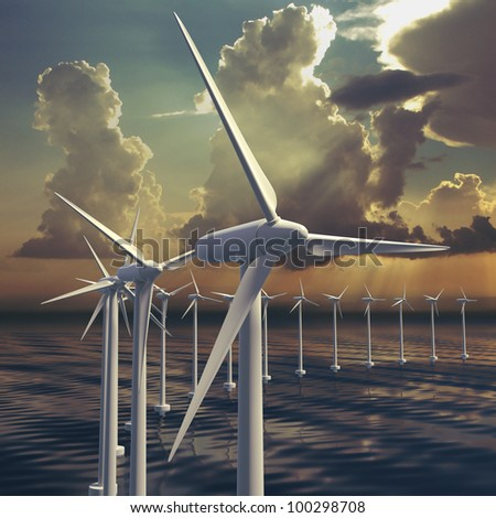 Wind farm or generators with sky at sea with stormy sky