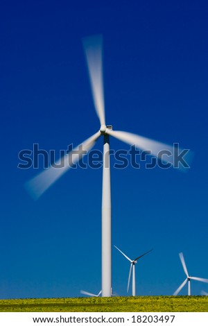 Wind farm turbines in green field over blue sky