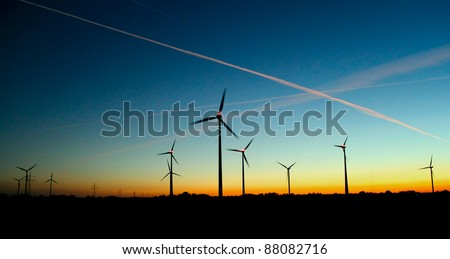 wind generator at sunset