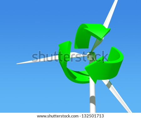 Wind Generator Turbine over Blue Sky. Green Renewable Energy