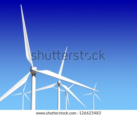 Wind Generator Turbines over Blue Sky - Green Renewable Energy