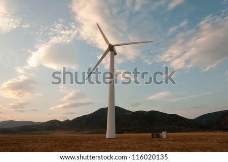 Wind generator working on the field.