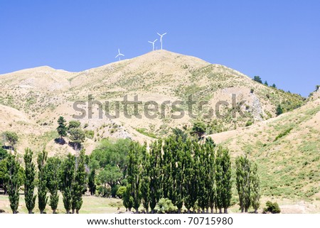 Wind generators on the top of a hill