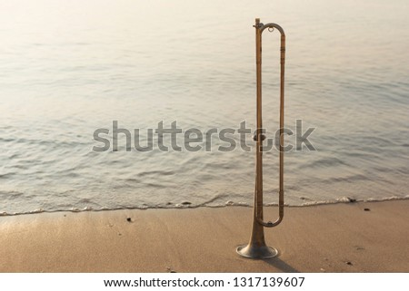 wind instrument tube stands on the seashore, sunrise beautiful lighting, the concept of romance and music #1317139607