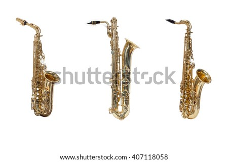 wind instruments saxophones Alto,tenor,baritone isolated against a white background