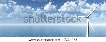 wind mill at water landscape - 3d illustration