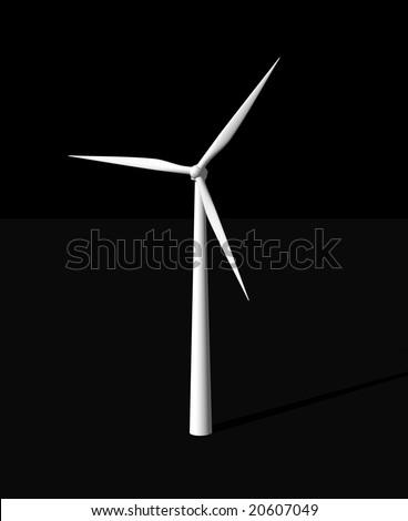 wind mill on black background - 3d illustration