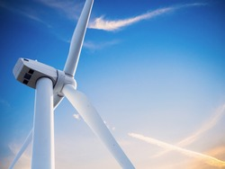 wind mill or also wind-turbine on wind farm in rotation to generate electricity energy on outdoor with sun and blue sky , conservation and sustainable energy concept.