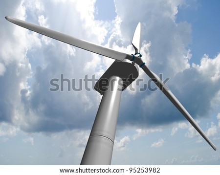 Wind mill, renewable energy. - stock photo