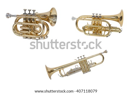 wind musical instrument cornet isolated on white background #407118079