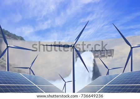 Wind power and photovoltaic power generation are set in the background of hydroelectric DAMS