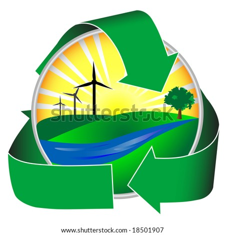 Wind power in a healthy environment. This icon depicts a river, green hills and trees in addition to sunshine and wind mills.