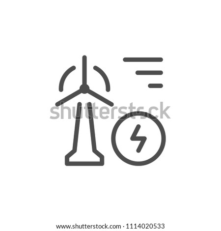 Wind power line icon isolated on white