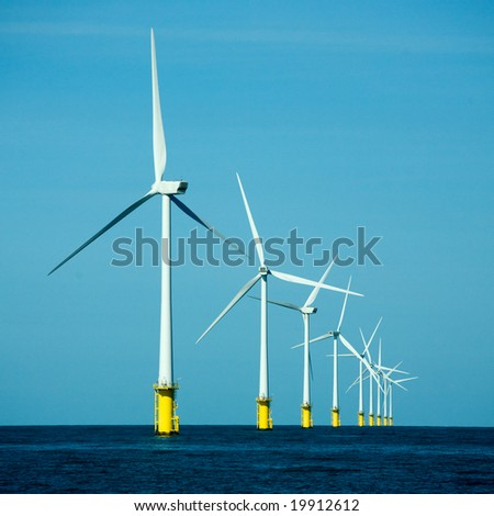 Wind power plant in a sea