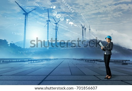wind power plant. renewable energy concept.