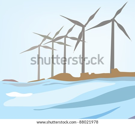 Wind power plants at the sea