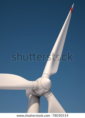 Wind power station against the blue sky - Power generation wind turbines - alternative energy 3d concept