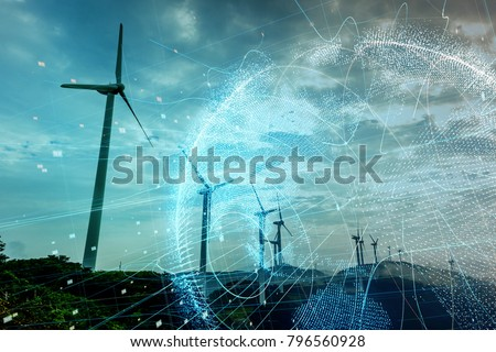 Wind power station and global communication concept. #796560928