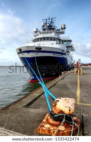 Wind power Supply vessels in Esbjerg harbor, Denmark #1335422474