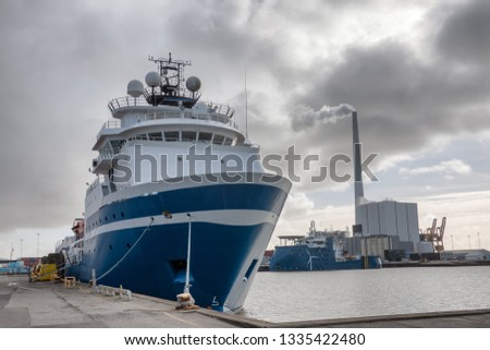 Wind power Supply vessels in Esbjerg harbor, Denmark #1335422480