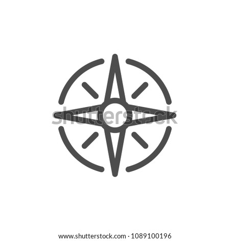 Wind rose line icon isolated on white
