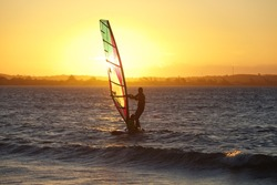 wind surf in Rio de janeiro at sunset